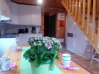 Tuula-mökki kupit  keittiön pöydällä, Sorjosen lomamökit Sulkava